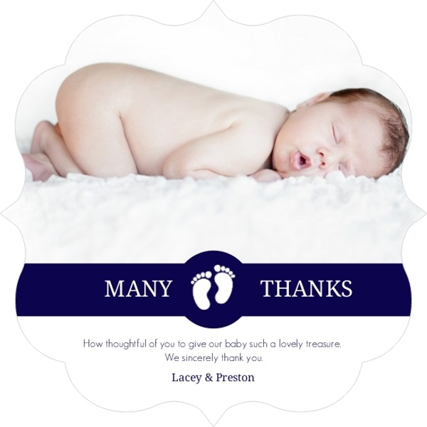 Navy And White Stripes Baby Shower Thank You Card – Baby Shower Thank You Notes