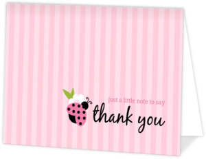 Pink Ladybug Baby Shower Thank You Card