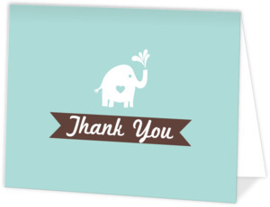 Teal Elephant Baby Sprinkle Thank You