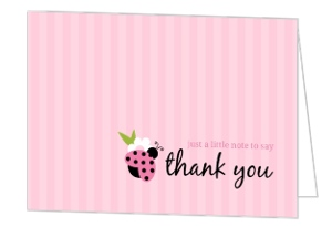 Pink And Green Ladybug Thank You Card