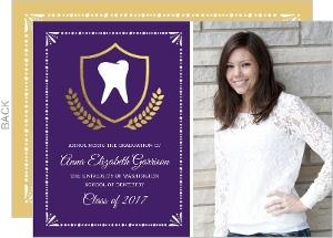 Gold Foil Crest Dental School Graduation Invitation