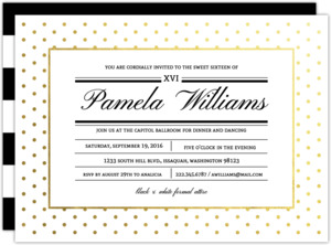 Modern Type Gold Foil Dot Sweet Sixteen Invitation