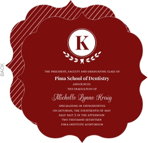 Red Elegant Laural Wreath Monogram Dental Graduation invitation