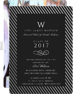 Silver Foil Stripe Frame Dental School Graduation Invitation