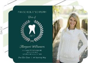 Evergreen Formal Laurel Wreath Foil Dental School Graduation Invitation