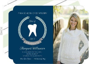 Mint Formal Laurel Wreath Dental School Graduation Invitation