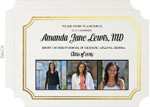 Classic Gold Foil Frame Medical School Graduation Announcement