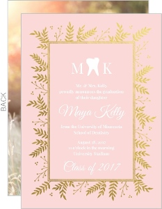Gold Foil Foliage Dental School Graduation Invitation