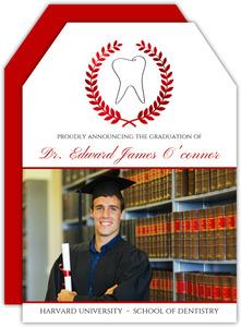 Elegant Red Foil Wreath Dental School Invitation
