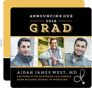 Black and Gold Medical School Graduation Announcement