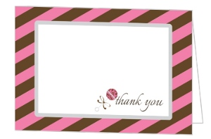 Pink And Brown Stripes Baby Shower Thank You Card