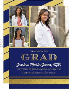 Navy and Gold Foil Stripe Medical School Graduation Announcement