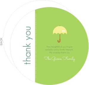 Lovely Green Shower Baby Shower Thank You Card
