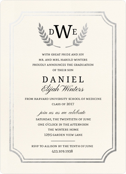 formal double frame silver foil medical school graduation, Quinceanera invitations