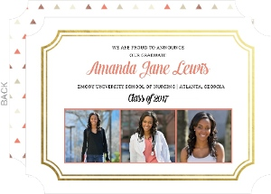 Coral and Gold Foil Frame Nursing School Graduation Announcement