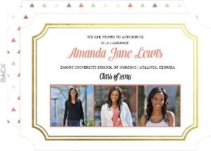 Coral and Gold Foil Frame Nursing School Graduation Announcement