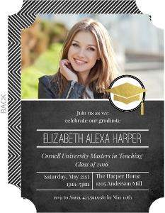 Modern Foil Seal Graduate School Graduation Invitation