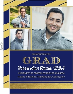 Navy and Gold Foil Stripe Graduate School Graduation Announcement