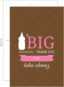 Pink And Taupe Quilted Baby Showerthank You Card