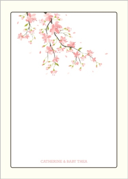 sweet pink cherry blossoms baby shower thank you card baby shower thank you cards. Black Bedroom Furniture Sets. Home Design Ideas