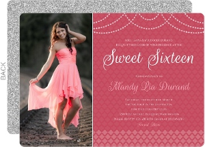 Elegant Pink Royal Pattern Sweet Sixteen Invitation