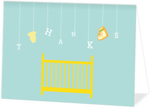Teal Baby Shower Mobile Baby Shower Thank You Card