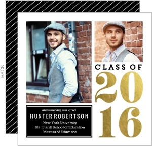 Gold Foil Block Graduate School Graduation Announcement