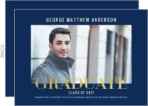Modern Type Faux Foil Graduate School Graduation Announcement