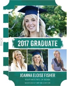 Teal Brushstroke Graduate School Graduation Announcement
