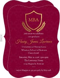 Burgundy Gold Foil Crest Graduate School Graduation Invitation