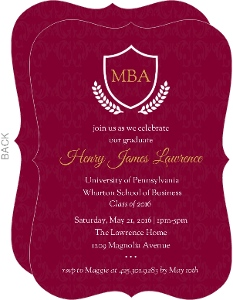 Maroon and Gold Crest Graduate School Graduation Invitation