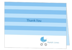 Blue Stripes Baby Shower Thank You Card