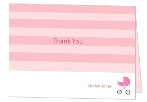 Pink Stripes Baby Shower Thank You Card