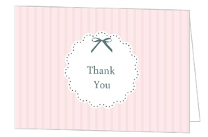 Vintage Pink Stripe With Bow Baby Shower Thank You Card
