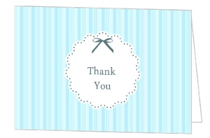 Vintage Blue Stripe With Bow Baby Shower Thank You Card