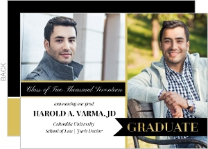 Black and Gold Banner Law School Graduation Announcement