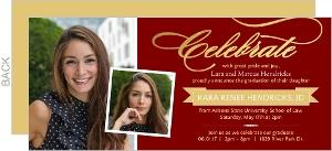 Maroon and Gold Foil Law School Graduation Invitation