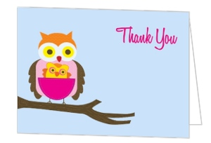 Baby Owl Baby Shower Thank You Card