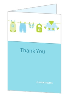 Blue Clothesline Baby Shower Thank You Card