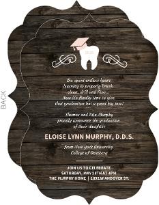 Rustic Woodgrain Cap Dental School Graduation Invitation