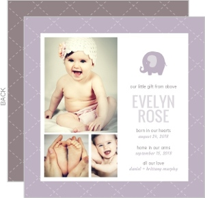 Purple Quilted Photo Birth Announcement