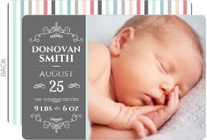 Simple Gray Stripes Photo Birth Announcement