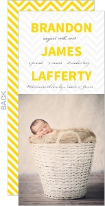 Modern Yellow Chevron Boy Birth Announcement