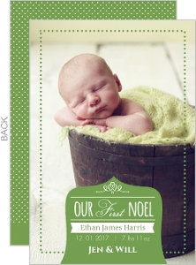 Whimsical Green First Noel Holiday Photo Card