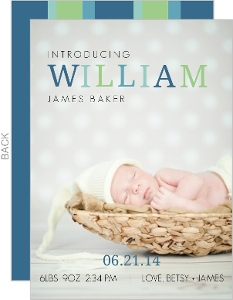 Sophisticated Green And Blue Baby Announcement