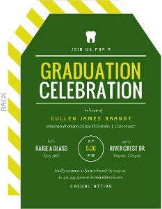 School Colors Typography Dental School Graduation Invitation