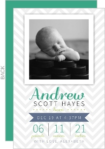 Gray Chevron Photo Inset Birth Announcement
