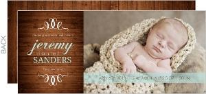 Blue Woodgrain Boy Birth Announcement