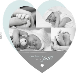 Gray Photo Heart Boy Baby Announcement
