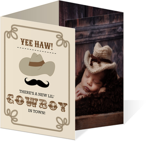 Rustic Brown Cowboy Funny Birth Announcement